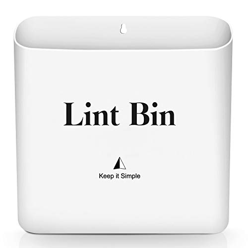 Magnetic Lint Bin for Laundry Room by Subekyu Small Waste Bin or Laundry Storage Container for Hanging on DryerWasherWall 085 Gallon White
