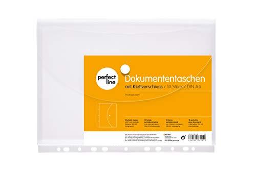 perfect line 10 Dokumenten-Taschen DIN-A4 mit Klett-Verschluss, Füllhöhe 20 mm, Klarsicht-Hüllen klar & transparent, Prospekt-Hülle mit Klappe & Abheftrand, Sammel-Folie mit Dehn-Falte