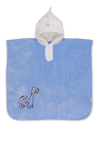 Sluimerzak knuffelig zachte badponcho met capuchon dinosaurus in blauw voor jongens 4-8 jaar