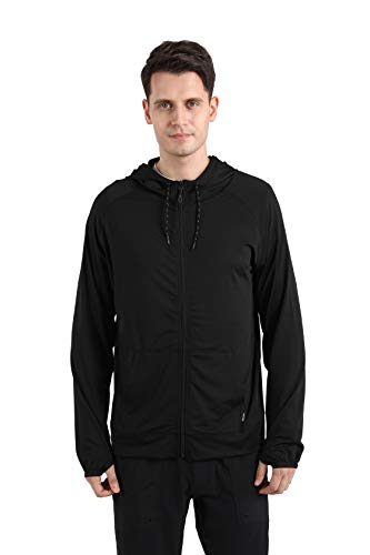 ARECON Men's Casual Tracksuit Long Sleeve Full-Zip Running Jogging Sports Jacket Fitness Gym T Shirts (A Black, Large)