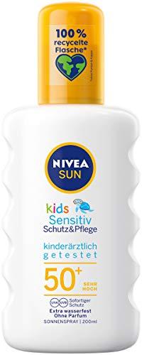 NIVEA SUN Kids Sensitiv Sonnenspray im 1er Pack (1 x 200 ml), Spray mit LSF 50+, Sonnenlotion für empfindliche Kinderhaut