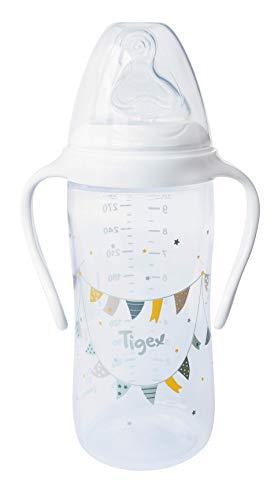 Tigex 84000082 - Biberón multiflow de 300 ml con asas para niño, silicona
