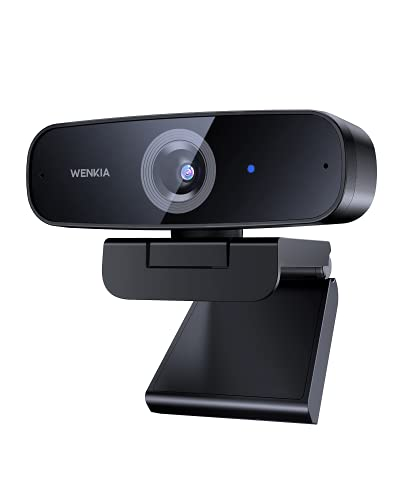 2021 WENKIA 1080p Webcam with Dual Stereo Microphones, Full HD USB Desktop Web Computer Camera with Auto Light Correction for Video Conferencing & Chatting, Compatible with Windows & Mac, PC & Laptop