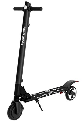 Swagtron Swagger 2 Plus Foldable Electric Scooter for Adults & Teens   Folding E-Scooter w/Built-in USB Port   230 LB. Max. Weight, Balanced Motor, Triple Braking System (Black)