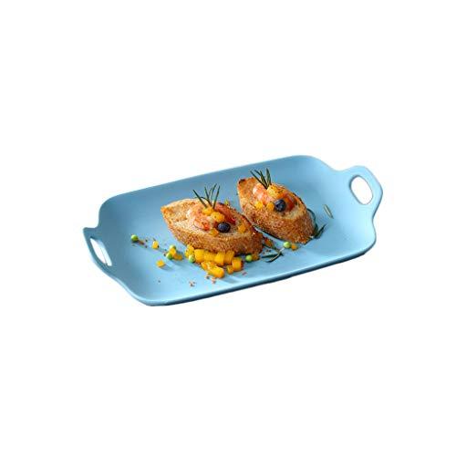 Plateau de cuisson en céramique de four, casseroles de rôtissage plat de barbecue plat de pâtes plat occidental restaurant vaisselle d'hôtel (Color : Blue)