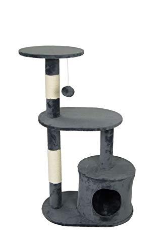 animal-design Katzenbaum NOLA Kratzbaum klein beige grau mit Wohnhöhle und Spielmaus, Farbe:grau