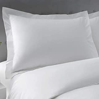 JHD Queen Pillow Shams Set of 2 White 600 Thread Count 100% Natural Cotton Queen 20x30 Pillow Shams Cushion Cover, Cases Super Soft Decorative (White, Queen 20''x 30'')