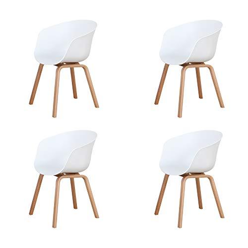 Uderkiny Set di 4 sedie in Stile Nordico, Sedia da Pranzo in Stile Medievale con braccioli e Gambe in Metallo, Adatta per Soggiorno, Cucina e Ufficio, Dimensioni: 78 * 55 * 48 cm (Bianco-4)