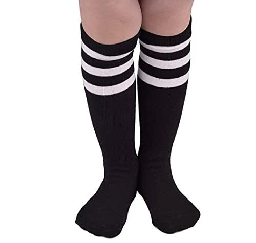 Durio Calcetines de deporte hasta la rodilla para bebé, niñas, hasta la rodilla, a rayas, para niños pequeños, niñas y niños, de 3 a 6 años, negro blanco, 3-6 Años