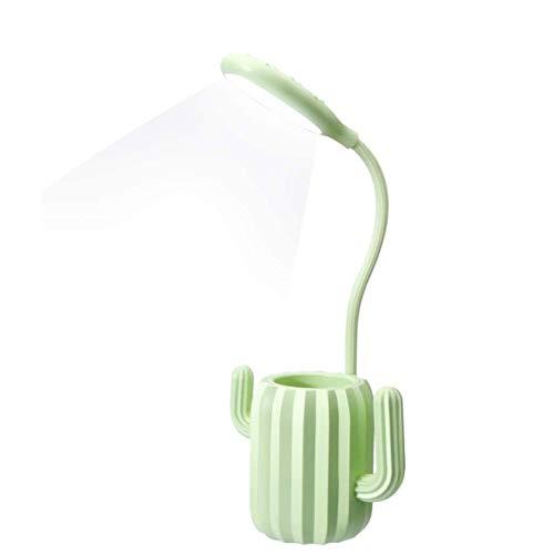Pomety Lámpara de escritorio, luz de mesa USB recargable 3 niveles de nivel con interruptor de sensibilidad al tacto Luces de lectura, Soporte de lápiz Decoración (Color : Verde)