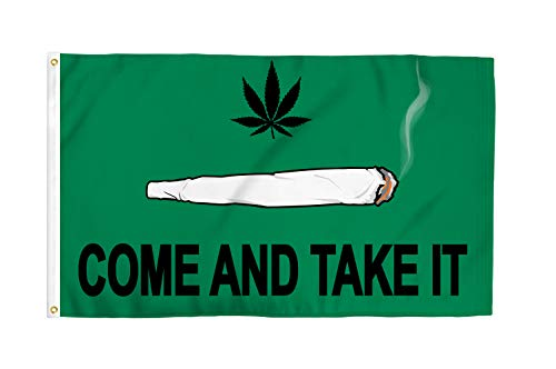 Come and Take It (Spliff) 3x5 Foot Pot Flag - Bold Vibrant Colors, UV Resistant, Golden Brass Grommets, Durable 100 Denier Polyester, Mighty-Locked Stitching - Perfect for Indoor or Outdoor Flying!