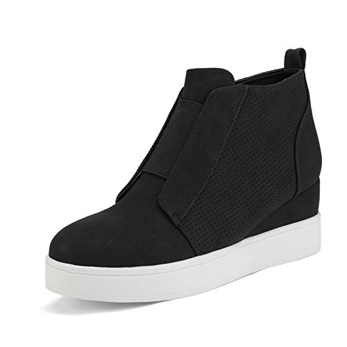DREAM PAIRS Women's Platform Wedge Sneakers Ankle Booties Black Size 8 M Us Wedge-Snkr-1
