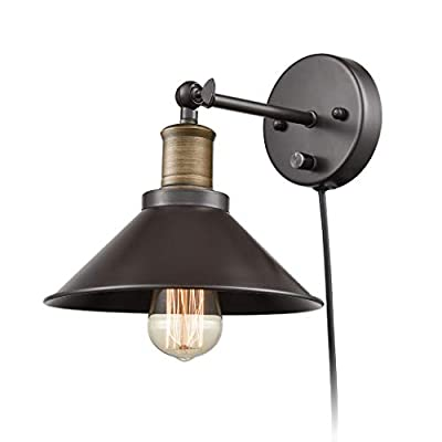 Industrial Hardwired & Plug-in Wall Sconce Light CLAXY Vintage 1 Light Simplicity