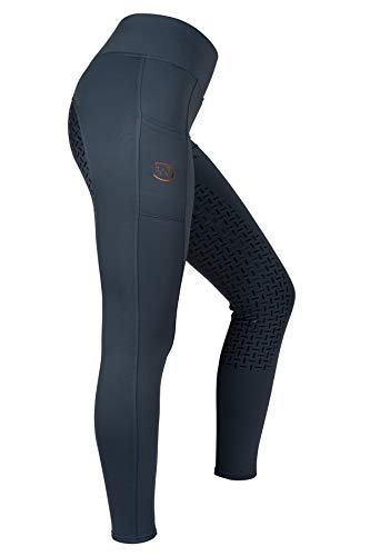 RIDERS CHOICE Damen Winterreitleggings mit Silikonvollbesatz und Handytasche - RidersDeal Collection für Reiter, Moon Light Blue, Gr. 38