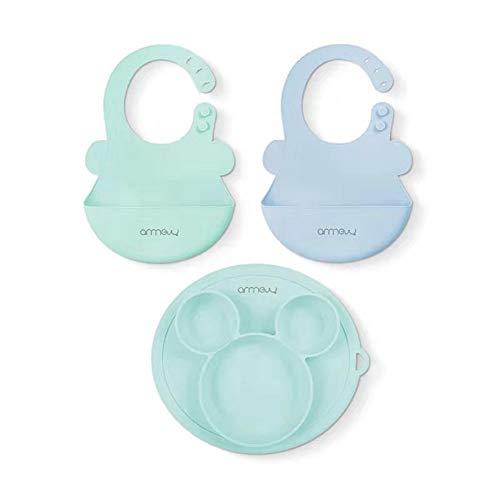 ARRNEW Bavaglini Impermeabile in Silicone,Bavaglini Silicone Morbido per Bambino (Rosa/Azzurro/Calce Verde). facile da Pulire, Roll up (Blu/menta e ciotola)