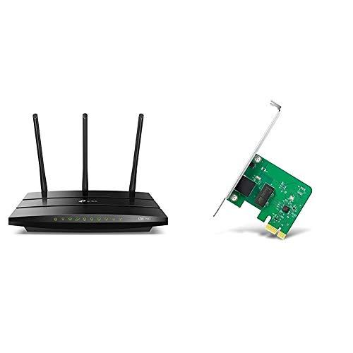 TP-Link AC1750 Archer C7 - Router Gigabit inalámbrico de Doble Banda, 2.4 GHz a 450 Mbps y 5 GHz a 1300 Mbps + TG-3468 - Adaptador WiFi Gigabit PCI Express (10/100/1000 Mbps), Puerto RJ45