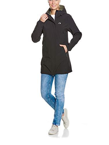 Tatonka Federleichter Regenmantel Neta W's Coat - Outdoormantel mit Kapuze - wasserdicht und atmungsaktiv - Damen - PFC-frei - schwarz
