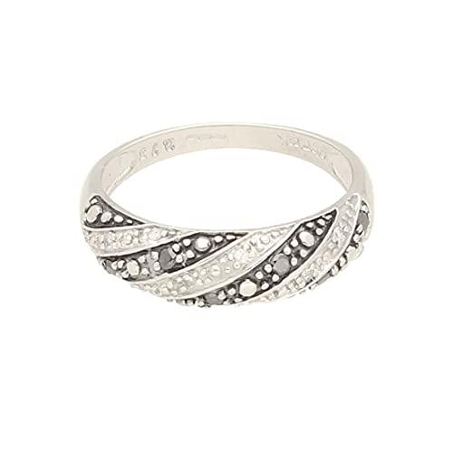 Anillo de lujo para mujer de oro blanco de 9 quilates de 0,15 quilates con diamante blanco y negro (talla N)