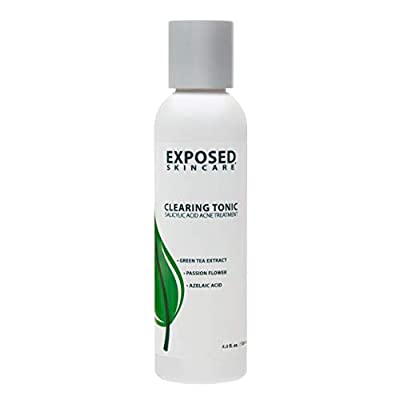 Exposed Skin Care Clearing Tonic Step 2 - Acne Clearing Toner Treatment – Prevent Bacteria and Redness with Salicylic Acid 1.0%, Witch Hazel and Green Tea - 4 fl oz