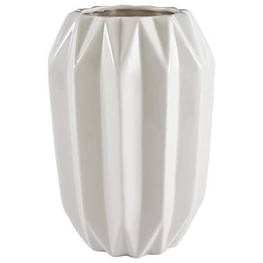 Rivet Modern Angled Stoneware Vase, 8.7 H, White