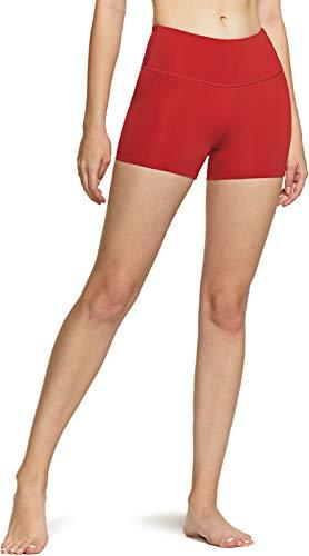 TSLA Women's High Waisted Bike Shorts, Workout Running Yoga Shorts with Pocket, Athletic Stretch Exercise Shorts, 3' Red, Medium