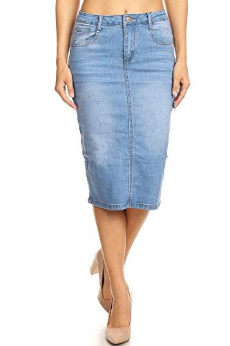 Women's Juniors Mid Waist Below Knee Length Denim Skirt in a Pencil Silhouette in Light Blue Size XXL