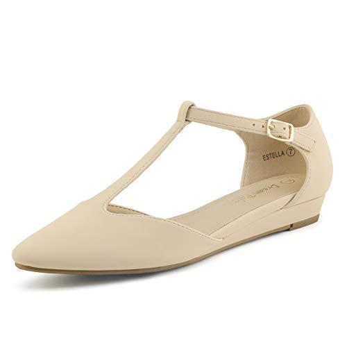 Dream Pairs Estella Zapatos Planos Bailarina para Mujer Desnudo Nubuck 39.5 EU/8.5 US