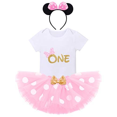 FYMNSI Recién Nacida Bebé Niñas Primer Cumpleaños Trajes Conjuntos Disfraz De Minnie Princesa Vestido Tutu Manga Corta Mameluco Lunares Falda Oído Diadema 3 Piezas Set Rosa One 1 año