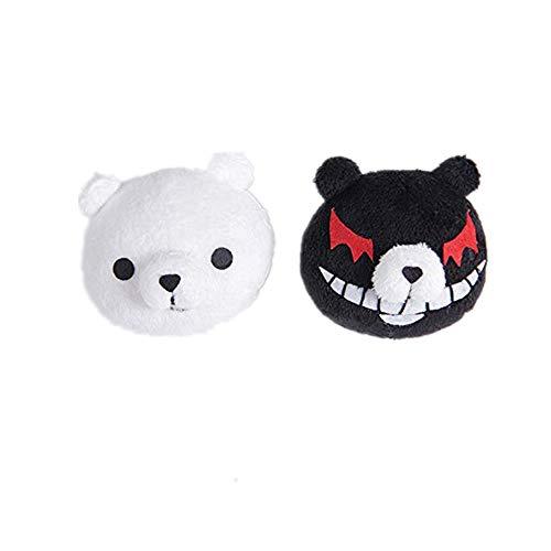 SL 1 Pair Cute Sweet Monokuma Bear Clips Anime Cosplay Accessory Black and White Clips for Danganronpa Junko