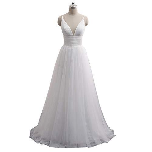 SongMyao Brautkleid Brautkleid Art und Weise Elegante Braut Brautkleid kurzärmlig Lange Spitze Brautkleid ist sehr geeignet for Kirche Garten-Hochzeit (Color : White, Size : 14)