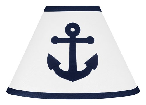 Anchors Away Nautical Navy Blue and White Baby and Childrens Lamp Shade
