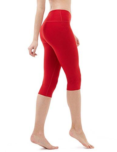 TSLA Women's Capri Yoga Pants, Workout Running Tights, 4-Way Stretch Leggings with Hidden/Side Pocket, Midwaist Yogapants Red, Medium