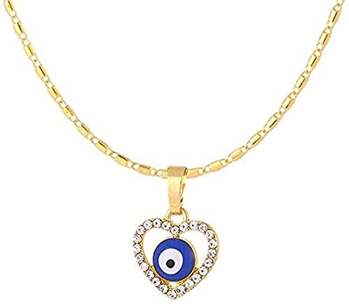 ZPPYMXGZ Co.,ltd Collar de Moda Clásico Azul Azul Pavo Mal de Ojo en Forma de corazón Collar Femenino Collar de la Suerte Collar de Regalo de Amor