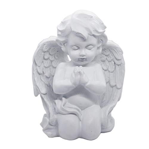 wxq Cherub Angel Statue Figurine Indoor Outdoor Home Garden Guardian Decorative Church Wings Angel Statue Sculpture Memorial Statue (Color : White Keeling Angel)