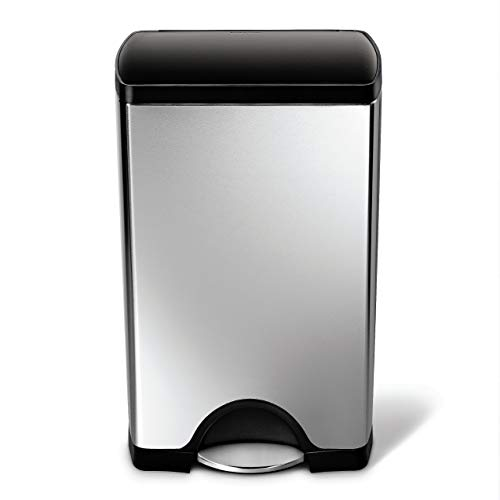 simplehuman 38 Liter / 10 Gallon Rectangular Kitchen Step, Brushed Stainless Steel with Plastic Lid trash can