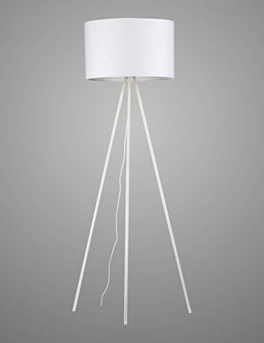 Modernluci staande lamp statief modern staande lamp voor de woonkamer, slaapkamer lamp, tijddicht tripod vloerlamp Scandinavische stijl met stoffen scherm, ø 45 cm hoogte: 150 cm E27 wit zwart grijs MEHRWEG