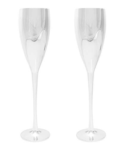 Brillibrum Design 2er Set Champagnergläser aus Metall versilbert antibakteriell anlaufgeschütz Sektflöten Hochzeitsgeschenk Champagnerkelche Sektgläser
