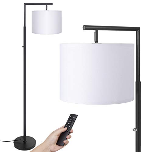 Floor lamp,Stepless Brightness &4 Color Temperature Modern Standing Shade Led Floor Lamp with Remote & Rotary Switch Control Classic Standing Lamp for Living Room and Bedroom( LED Bulb Inclued)(Black)