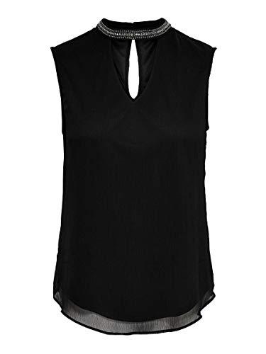 Only Onlramon S/l Top Wvn Camiseta sin Mangas, Negro (Black Black), Large (Talla del Fabricante: 40) para Mujer