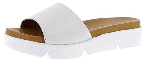 Andrea Conti Damen Pantoletten Weiße Pantolette mit Plateau 1745714-001 weiß 689666