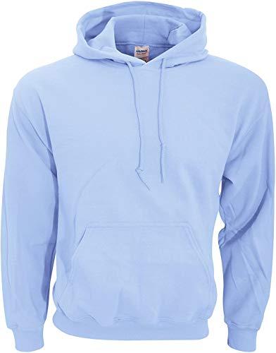 Gildan Men's Rib Knit Pouch Pocket Hooded Sweatshirt, Light Blue, X-Large