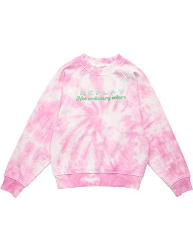 REPLAY SG2100 Sudadera, 040 Tie&Dye Pink, 14 años para Niñas