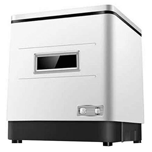OCYE Mini-Geschirrspüler, Edelstahl-Innenausstattung, mit UV-Sterilisation, tragbarer Geschirrspüler für Wohnungen, Büros, RVs-obere Öffnungstür, vordere Öffnungstür weiß