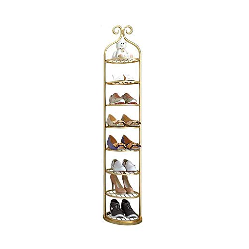 Schuhschrank Multi-Layer Eisen Schuh Rack Amerikanisch Luxus Schmale Schuhspeicher Einfache Heimtür Kleinschuhständer Wirtschaftsschuhregal Schuhregal (Color : Gold, Größe : 8 Tier)