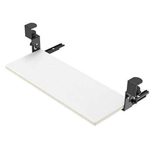 Ergonomie Tastaturauszug Tastaturhalterung Schreibtisch Ausziehbare Tastaturablage Untertischmontage Tastaturschublade und Maus Halterung für Keyboard Clip-on Punch-frei Trägerplatte,Weiß,55x22cm