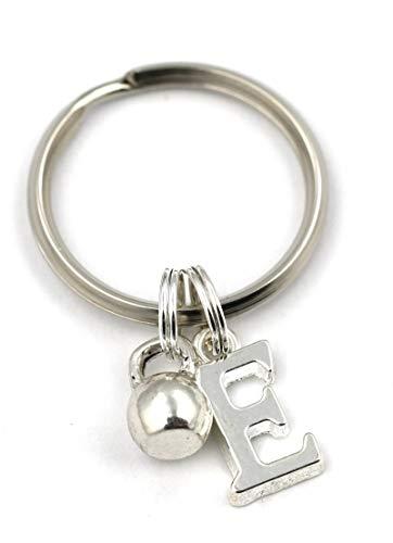 SILVER KNIGHT Kettlebell Schlüsselanhänger, personalisierter Schlüsselanhänger, Trainingsgerät-Schlüsselanhänger, Initial-Sport-Charm, Gewichtheben, Workout, Crossfit-Geschenktasche