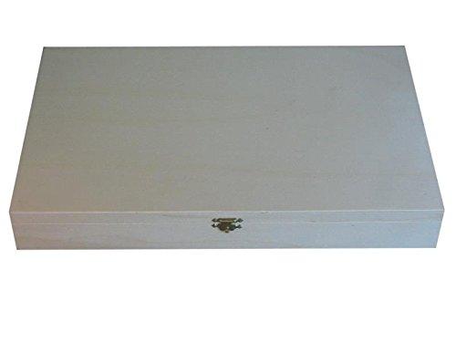 greca Caja de Madera. Interior con departamentos para Colecciones. En Crudo, para Decorar. Medidas (Ancho/Fondo/Alto): 45 * 28 * 6 cm. Medidas de Cada cuadrícula: 5 * 4 * 5 cm.