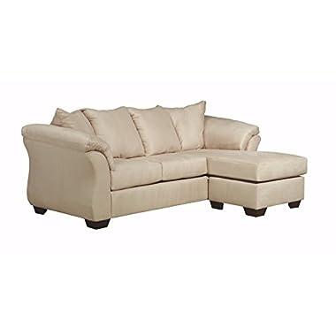 Ashley Furniture Signature Design - Darcy Contemporary Microfiber Sofa Chaise - Stone