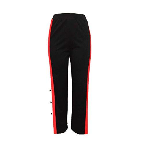 TWIFER Damen Knöpfe Hohe Taille Elegante Lange Hosen Bleistift Hose (S-5XL) (XL, Schwarz)