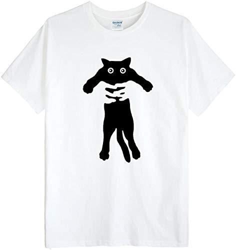 (ゴジラ千) GODZILLASENN メンズtシャツ ネコをつかまって 柄プリントTシャツ ホワイト S